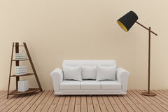 White sofa decorate with bookshelf and lamp in the green room interior design in 3D render image Stock Photos