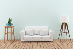 White sofa decorate with tree and lamp in the green room interior design in 3D render image Royalty Free Stock Photos