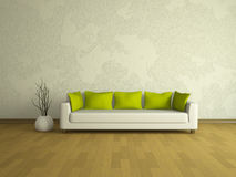 White sofa with green pillows Royalty Free Stock Images