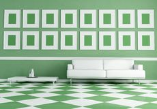 White sofa on green and white chessboard floor Stock Images
