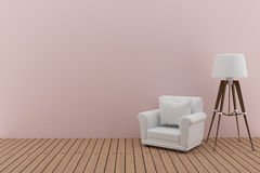 White sofa with lamp in the pink room interior design in 3D render image Royalty Free Stock Photography