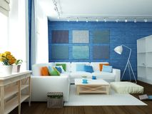 3D illustration of modern blue room. White sofa in large empty modern blue room with hardwood floor, large windows and white rug on floor Royalty Free Stock Photography