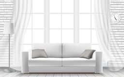 White sofa large window in a brick wall. White sofa on the background of a large light window in a brick wall. Modern interior of a living room or studio. Vector Stock Images