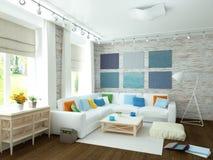 3D illustration of modern white living room Stock Photo