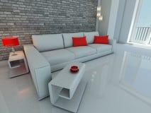 White sofa near the brick wall. Home interior with white sofa near the brick wall Royalty Free Stock Images