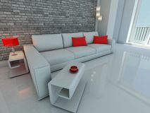White sofa near the brick wall Stock Photography