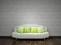 White sofa near the wall. White sofa with pillows near the concrete wall Royalty Free Stock Photos