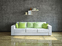 White sofa near the wall. White sofa with pillows near the concrete wall Stock Photography