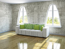 White sofa near the windows. White sofa with pillows near the windows Stock Photo