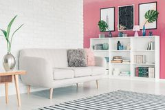 Pink living room. White sofa in pink living room interior with white brick wall, striped rug, posters and bookcase with books and decorations royalty free stock image