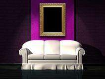 White sofa with purple part of the wall and frame Stock Photos