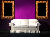 White sofa with purple part of the wall and frames Royalty Free Stock Photos