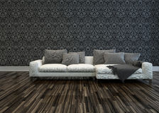 White Sofa in Room with Grey Patterned Wallpaper Royalty Free Stock Photo