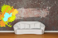 White sofa with splash frame Stock Image