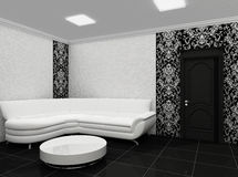 White sofa in stylish interior with decor. Luxurious interior. Hall. Relaxation room Royalty Free Stock Image