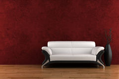 White sofa and vase with dry wood Royalty Free Stock Image