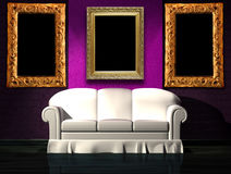 White Sofa With Purple Part Of The Wall And Frames Stock Photos