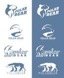 White and soft blue Polar bear logo vector art design Stock Photos