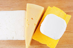 White soft cheeses and yellow Stock Photos