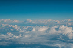 White soft clouds on idyllic blue sky. Celestial sphere on sunny day on fluffy overcast background. Upper layers of atmosphere Royalty Free Stock Photos