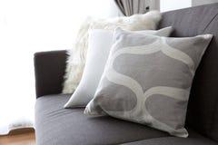 White soft cushion on sofa Stock Photos