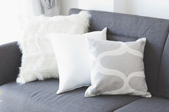 White soft cushion on sofa Royalty Free Stock Photos