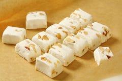 White soft nougat cubes stock photos