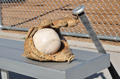 White Softball, Bat, and Glove Stock Images