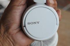 WHITE SONY HEAD PHONE TO LISTEN MUSIC  O NEWS. Copenhagen /Denmark./ 25.June 2019/White colour sonh headphone to listen music of radio in Copenhgen Denmark royalty free stock images
