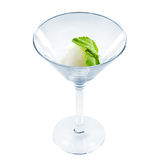White sorbet with mint leaf in beautiful martini glass isolated Royalty Free Stock Photography