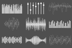White sound music waves. Audio technology, visual musical pulse. Vector illustration. Royalty Free Stock Images