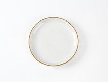 White soup plate with brown rim Stock Photography