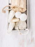 White spa bathroom set with salt balls and lotion in metal box Stock Photos