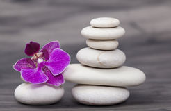 White spa stones and oriental flower. Spa still life with purple orchid and white zen stones. Wellness concept Stock Photo
