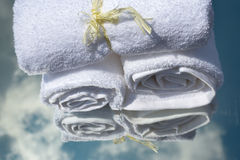 White SPA towels in a set with accessories for the bath Royalty Free Stock Photography