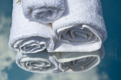 White SPA towels in a set with accessories for the bath Royalty Free Stock Photo