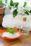 White SPA towels in a set with accessories for the bath Stock Images