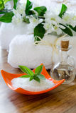 White SPA towels in a set with accessories for the bath Stock Photography