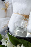 White SPA towels in a set with accessories for the bath Stock Photo