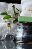 White SPA towels in a set with accessories for the bath Stock Photos