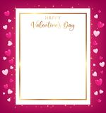 White space board with gold border and happy valentine`s day text stock illustration