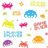 White space invaders pattern. White space invaders seamless vector pattern royalty free illustration