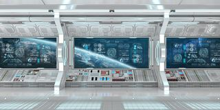 White spaceship interior with control panel digital screens 3D r. White spaceship interior in space with control panel digital screens 3D rendering stock illustration