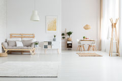 Apartment with living room. White spacious apartment with minimalist nordic living room stock image