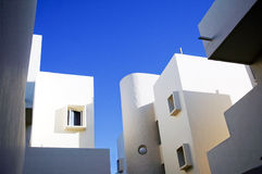 White spanish architecture and blue sky Stock Photo