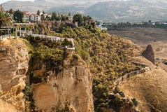 White spanish buildings built on the cliffs Stock Image