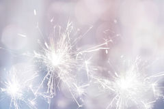 White sparkler fire for holiday festive background.  Royalty Free Stock Photography