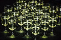 White sparkling wine in glasses on holiday reception table at ni Royalty Free Stock Photography