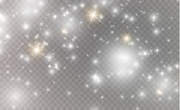 White sparks and golden stars glitter special light effect. Vector sparkles on transparent background. Christmas