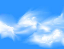White Sparse Cloud Over Blue Sky Vector Stock Image